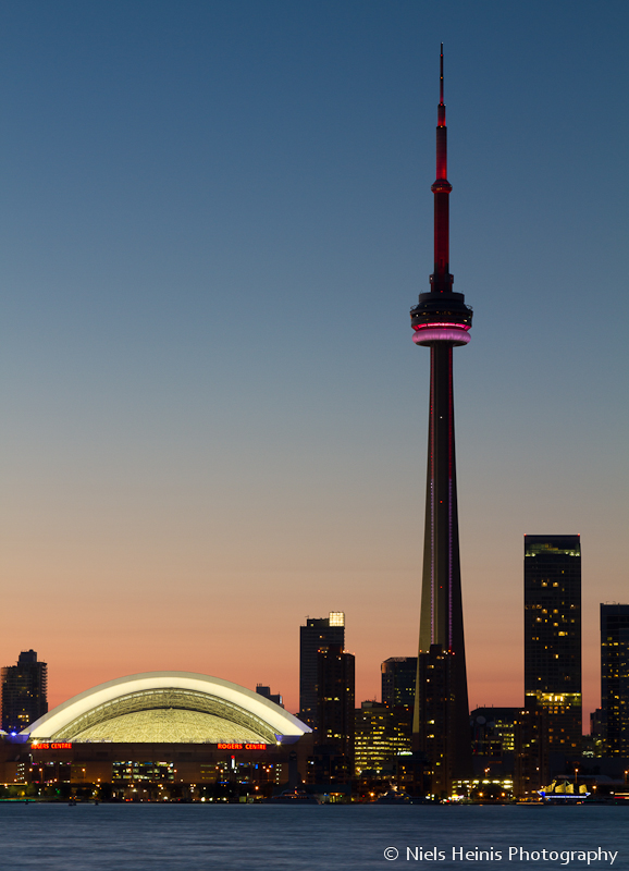 CN Tower rising sky high in Toronto sunset