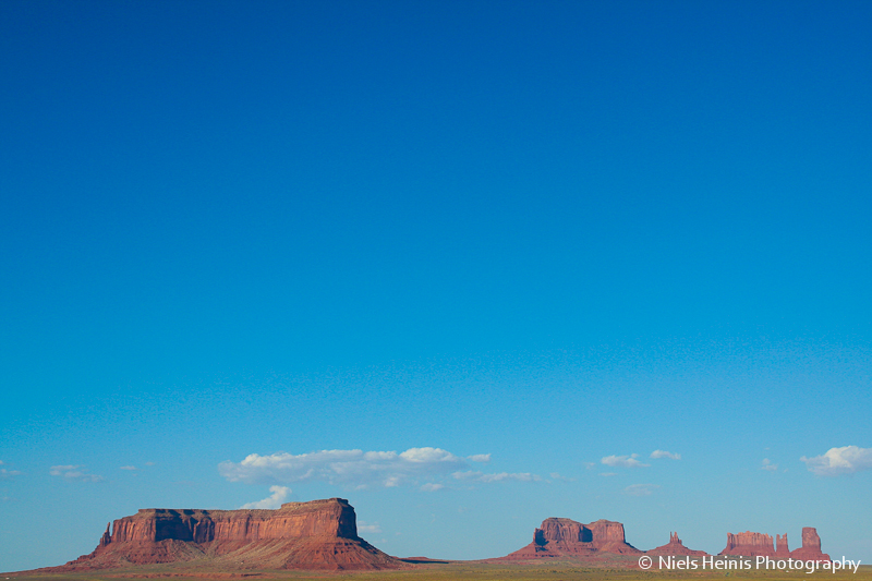 Monument valley under a blue sky