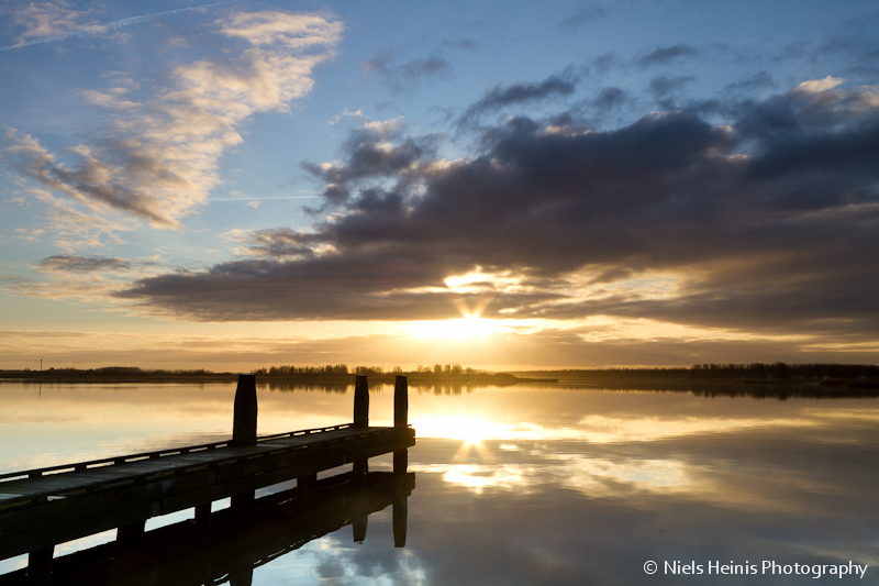 Tranquil sunrise at Lauwersmeer