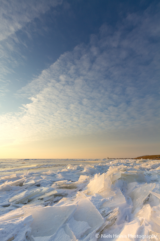 Ice floes along the lake shore - IJsselmeer, The Netherlands