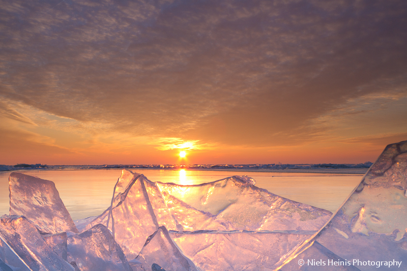 Sunset on ice