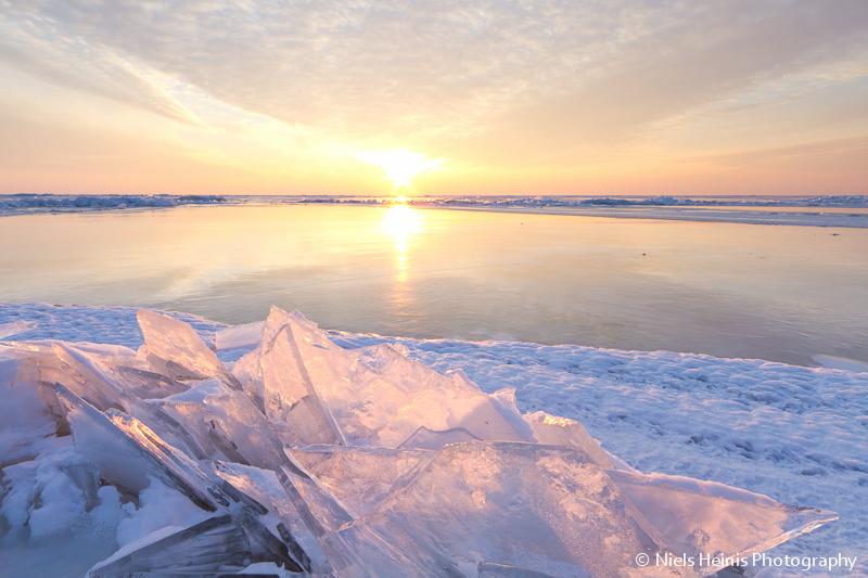 Shelf ice illuminated by the setting sun