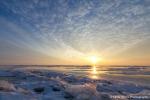 Blue sunset on arctic IJsselmeer